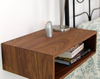 Floating Nightstand Mid Century Modern Bedside Table In Solid Black Walnut,  Small Nightstand Floating Shelf