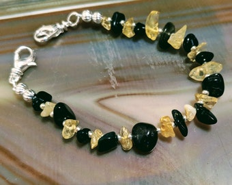 Bumblebee black and yellow multicolor gemstone medical alert bracelet available in five sizes