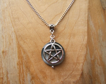 Silver Pentagram and smokey shell necklace. Pentacle pendant necklace.  Pagan Wicca.