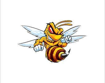 fighting yellow jacket decal, full color hornet decal, yellow jacket sticker, fighting hornet laptop sticker, vinyl decal, vinyl sticker