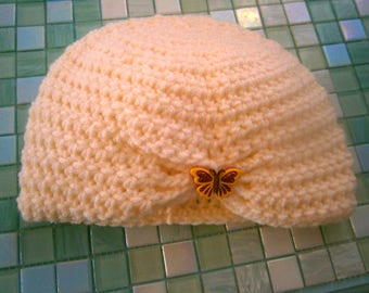 Baby Girl Crocheted Cream Cloche with Butterfly, Handmade Baby Hat, OOAK