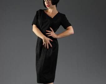 50s Black Wiggle Dress w Asymmetrical Neckline, EXTREME HOURGLASS // Leopard/Bow Printed Wool // Mad Men Pinup Fashion, Joan Holloway Style