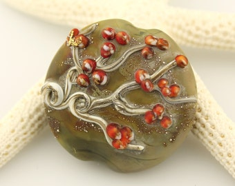SRA Lampwork Glass Bead Lentil Focal Bead with Autumn Berry Branches