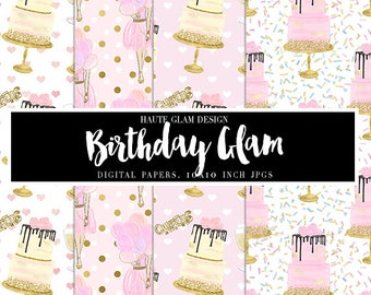 """BIRTHDAY GLAM Digital Paper Pack,  Pink Glam Birthday, Glittery Birthday Papers, Balloons and Cake, 10"""" JPG Instant Download, 10 Papers"""