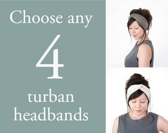 Any 4 Turban Headbands // Turband // Turban Hair Wrap // Fabric Hairband // Stretch Headband // Yoga Sweatband // Fashion Turban