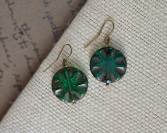 Emerald Green Antique Earrings, Czech Glass Beads, Brass, Neo Vintage Jewelry