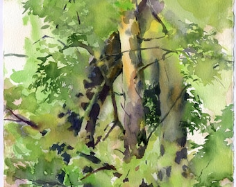 Forest painting watercolor - green woods painting print, watercolour on paper