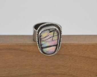 Silver Ring with Pink & Black Stone / Silver and Glass Ring / Handmade Ring with Dichroic Glass Stone