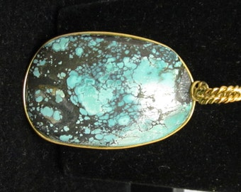 Vintage Turquoise Pendant, silver wire wrap 68ct