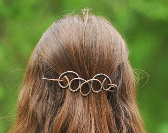 Copper Hair Barrette Copper Shawl Pin Celtic Scarf pin Bun Holder Hair Slide Hair Pin Hair Stick Hair Sticks Rustic Boho copper Scarf brooch