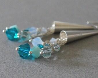 Blue Zircon Cluster Dangle Earrings
