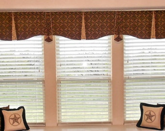 "Custom Wide Width Window Valance MAISON Hidden Rod Pocket® Valance 91""- 124"" window, Created using your fabrics, my LABOR and lining"