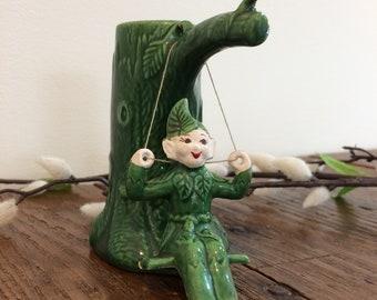 "1940's green fairy bud vase ""Lucky  California Sprite"" by TreasureCraft/California Pottery"