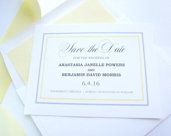 Yellow Save the Dates - Yellow and Gray Save the Date Cards, Modern Save the Dates, Elegant Save the Date Card - DEPOSIT