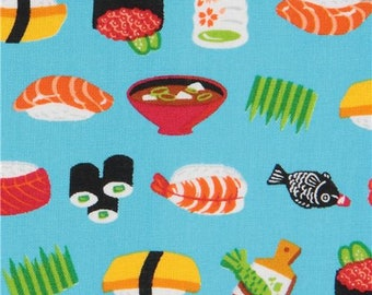216941 blue fabric with colorful sushi food from Japan
