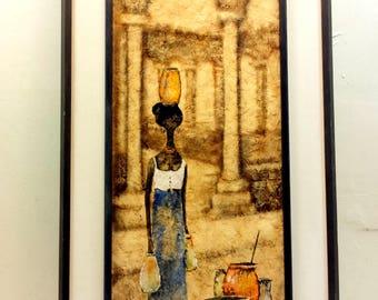 Mid Century Textured Original Art Earth Toned Painting