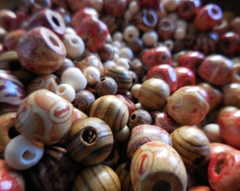 100 count Bulk Wooden Wood Mosaic Ethnic Beads Mixed grab bag lot DIY jewelry making Bead Lot