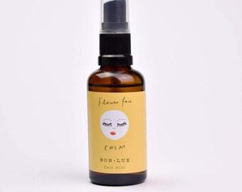 FLOWERFACE 'calm' face mist. skin, hair, travel. essential oil cammomile, bergamot 50ml glass atomiser bottle by BON LUX