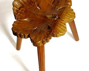 Wood Carving, Wood Art, Handmede Wooden Stool - Will Geranium - hand carved faery furniture, fantasy elven furniture, MADE TO ORDER