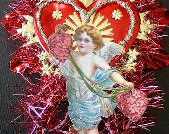 Vintage Look Valentine Angel Ornament Victorian-Cupid 1908 Postcard,Vintage Pink Tinsel,German Dresdens,Vintage Reflector