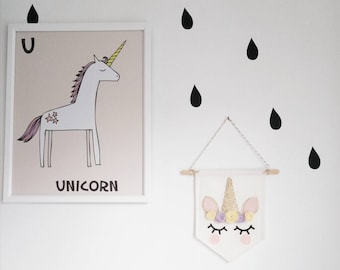 Unicorn Banner - Baby Unicorn Pennant - Sleepy Eyes Unicorn Wall Hanging - Nursery Decor - Baby Shower Gift
