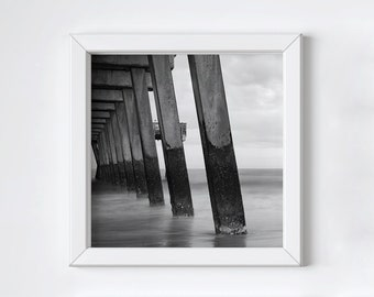 Coastal pier wall art - Black and white photography - Tybee Island - Ocean beach print - Girlfriend photo gift - Large square art - 12x12