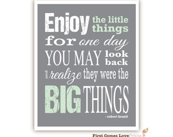 PRINTABLE Enjoy The Little Things Quote // Inspirational Wall Art // Custom Digital Print // Changeable colors