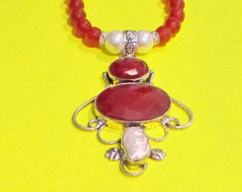 Ruby & Pearl Necklace, Ruby Pendant, Ruby and Pearl Sterling Silver Pendant and Ruby Bead Necklace