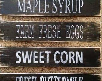 Maple Syrup, Farm Fresh Eggs, Sweet Corn & Fresh Buttermilk Sign Set - Farm - Rustic Decor - Rustic - Country- Kitchen Decor - Farmhouse