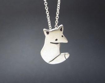 Sterling Wild Fox Necklace - Silver Fox Pendant