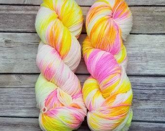 Sock Yarn - Superwash 75/25 Merino/Nylon - Hand Painted - Electric Lemonade