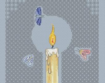 Cross stitch pattern, blackwork candle, modern art, moth embroidery