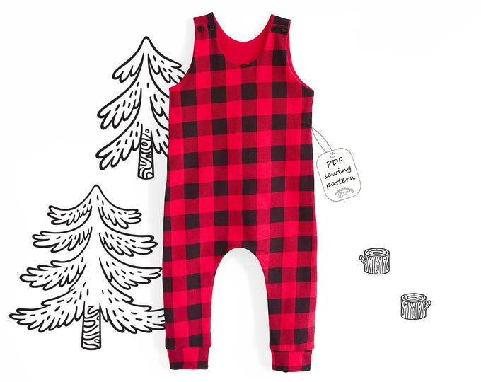 Featured listing image: Romper Sewing Pattern PDF, baby romper pattern PDF, kids romper pattern PDF, sewing patterns pdf