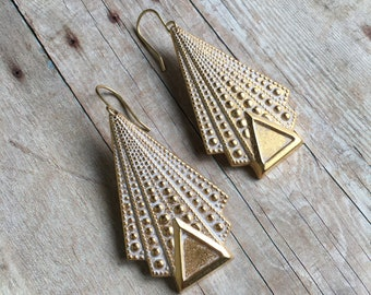 Art Deco Earrings Whitewash Brass Jewelry Triangle