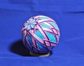 Rattling Temari Ball Ornament Pink and Purple on Blue Home Decor Wedding Gift