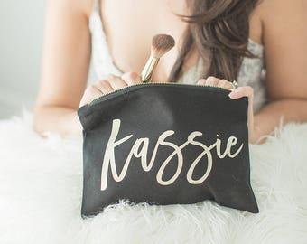 Bridesmaid Makeup Bag, Tote Bag, Cosmetic Bag, Rose Gold Bridesmaid Bag, Personalized Mrs Makeup Bag, Bridesmaid Gift, Personalized Pouch