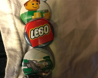 Up cycled lego pinback buttons set 1