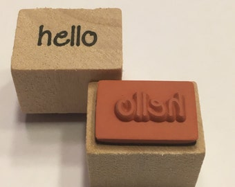 small hello rubber stamp, 16 mm (BB4/1)