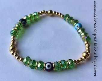 Green Spiritual Turkish (evil) eye glass beaded bracelet - Pulsera de piedritas de cristal verde con piedritas de ojo Turco de vidrio