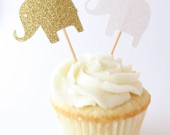 Elephant Cupcake Toppers - Elephant Baby Shower - Baby Shower Cupcake Toppers