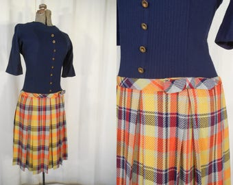 Vintage 1960s Dress | Twiggy Mod Mini Dress | 60s Small Drop Waist Shift