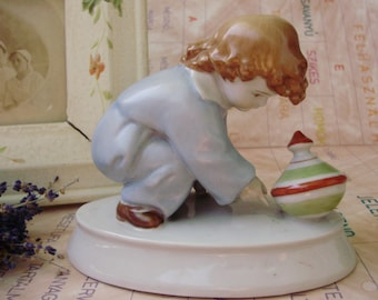 Large,Vintage ZSOLNAY porcelain child w.spinning top ,handpainted