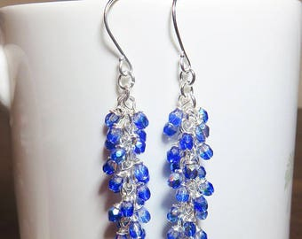Blue Earrings, Crystal Earrings, Long Cluster Earrings, Birthday Gifts for Her, Mothers Day, Sister Gift, Friend Gift, Teenager Gift, Mom