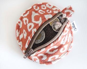Headphones Case, Change Purse, Orange Cheetah Print, Animal Print, Zipper Case, Orange, Rust, Earphone Case, Headphone Pouch