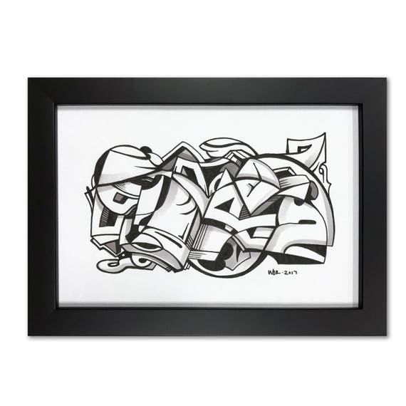 Playa - Original ink drawing on Paper | Signed , Framed and Ready to Hang - 6x9