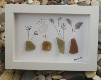 Flowers in Vases Cornish Sea Glass Framed Picture