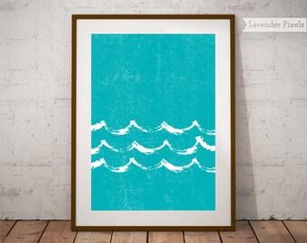 Wave art painting Beach waves art Poster Tropical prints Coastal decor print Wall art above bed Wall decor seascape Wave digital print