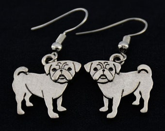 Pug Earrings, Pug Owner Jewelry, Pug Lover Jewelry, Pug Dog Charm Earrings, Gift for Pug Lover, Gift for Pug Lover, Pug Owner Gift, Pug Gift