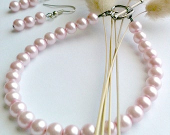 Pink Pearl Bracelet and Earring Set Handmade, Gift for Her