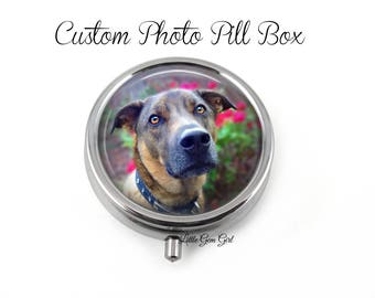 Custom Photo Pill Box - Personalized Picture Medicine Container, Earring Box, Mint Case Trinket Box - Personalized Name or Photo Pill box